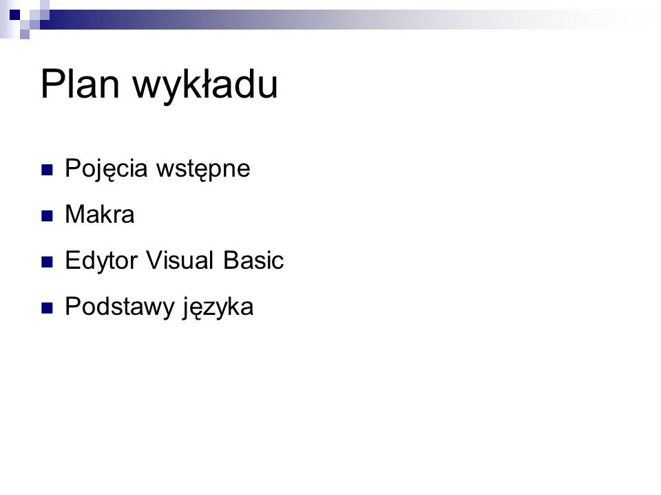 Podstawy języka Hierarchia obiektów Excela