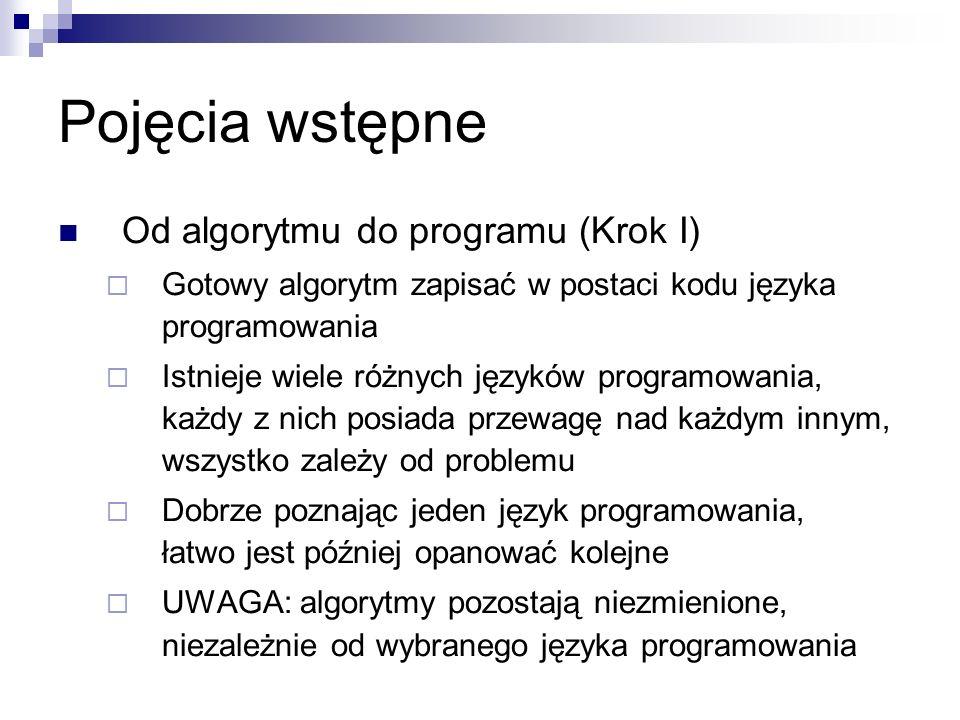 Pojęcia wstępne Od algorytmu do programu (Krok I)  Gotowy algorytm zapisać w postaci kodu języka programowania  Istnieje wiele różnych języków programowania, każdy z nich posiada przewagę nad każdym innym, wszystko zależy od problemu  Dobrze poznając jeden język programowania, łatwo jest później opanować kolejne  UWAGA: algorytmy pozostają niezmienione, niezależnie od wybranego języka programowania