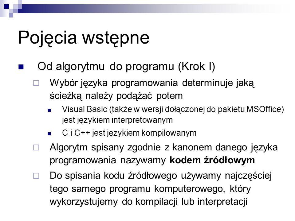Pojęcia wstępne Od algorytmu do programu (Krok I)  Wybór języka programowania determinuje jaką ścieżką należy podążać potem Visual Basic (także w wersji dołączonej do pakietu MSOffice) jest językiem interpretowanym C i C++ jest językiem kompilowanym  Algorytm spisany zgodnie z kanonem danego języka programowania nazywamy kodem źródłowym  Do spisania kodu źródłowego używamy najczęściej tego samego programu komputerowego, który wykorzystujemy do kompilacji lub interpretacji