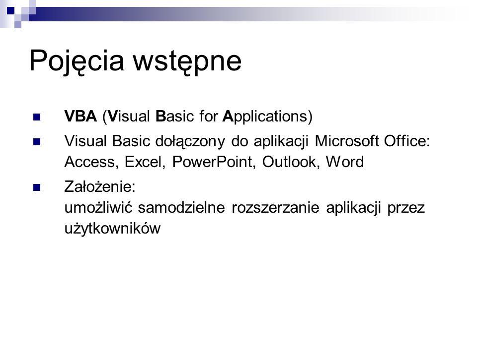 Pojęcia wstępne VBA (Visual Basic for Applications) Visual Basic dołączony do aplikacji Microsoft Office: Access, Excel, PowerPoint, Outlook, Word Założenie: umożliwić samodzielne rozszerzanie aplikacji przez użytkowników