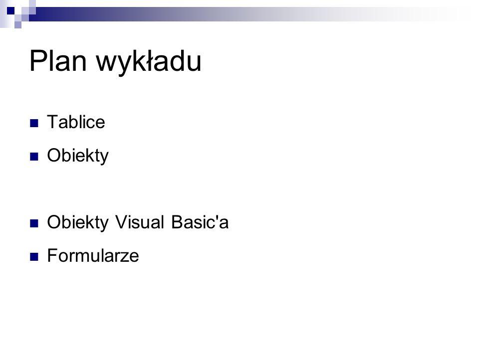MsgBox MsgBox(prompt[, buttons] [, title] [,helpfile, context]) Przyciski: vbOKOnly, vbOKCancel, vbAbortRetryIgnore, vbYesNoCancel, vbYesNo, vbRetryCancel Ikony: vbCritical, vbQuestion, vbExclamation, vbInformation Zwracane wartości: vbOK, vbCancel, vbAbort, vbRetry, vbIgnore, vbYes, vbNo
