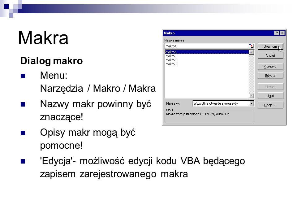 Makra Dialog makro Menu: Narzędzia / Makro / Makra Nazwy makr powinny być znaczące.
