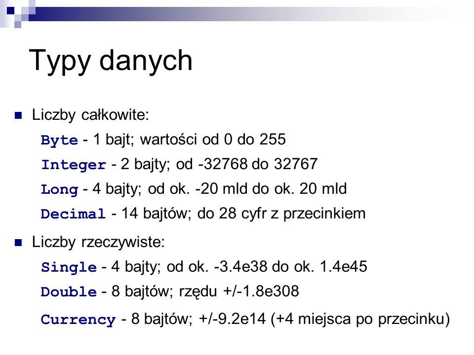 Typy danych Liczby całkowite: Byte - 1 bajt; wartości od 0 do 255 Integer - 2 bajty; od -32768 do 32767 Long - 4 bajty; od ok.