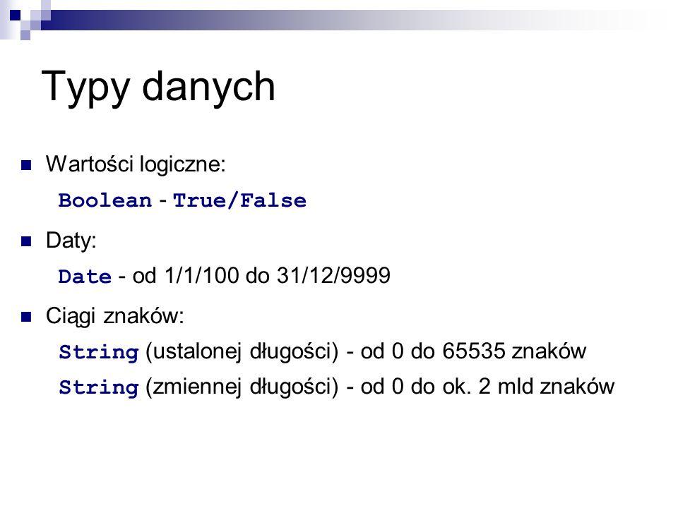 Typy danych Wartości logiczne: Boolean - True/False Daty: Date - od 1/1/100 do 31/12/9999 Ciągi znaków: String (ustalonej długości) - od 0 do 65535 znaków String (zmiennej długości) - od 0 do ok.
