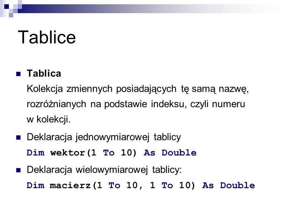 Tablice Tablica Kolekcja zmiennych posiadających tę samą nazwę, rozróżnianych na podstawie indeksu, czyli numeru w kolekcji.