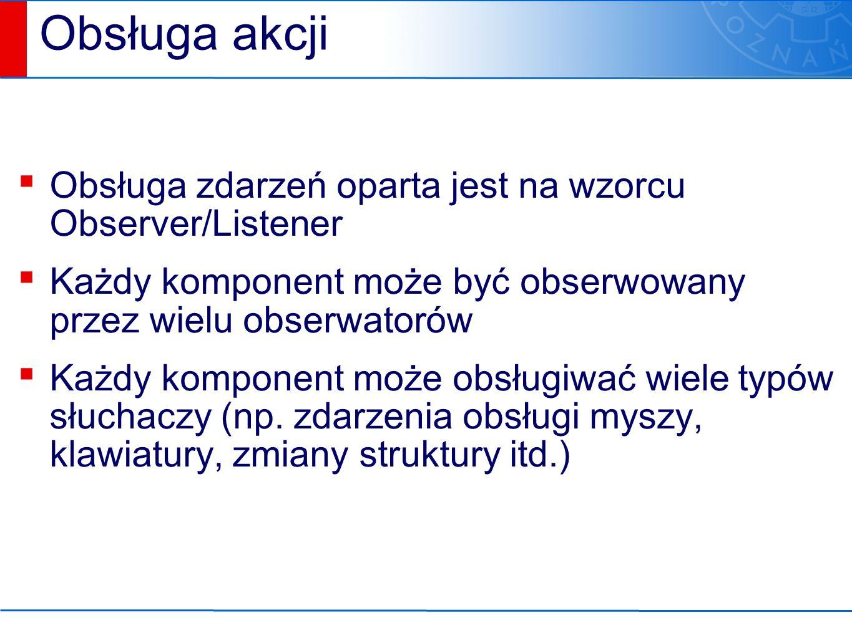 Obsługa akcji ▪ Obsługa zdarzeń oparta jest na wzorcu Observer/Listener ▪ Każdy komponent może być obserwowany przez wielu obserwatorów ▪ Każdy komponent może obsługiwać wiele typów słuchaczy (np.