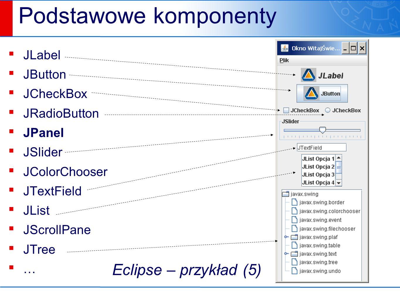 Podstawowe komponenty ▪ JLabel ▪ JButton ▪ JCheckBox ▪ JRadioButton ▪ JPanel ▪ JSlider ▪ JColorChooser ▪ JTextField ▪ JList ▪ JScrollPane ▪ JTree ▪ … Eclipse – przykład (5)