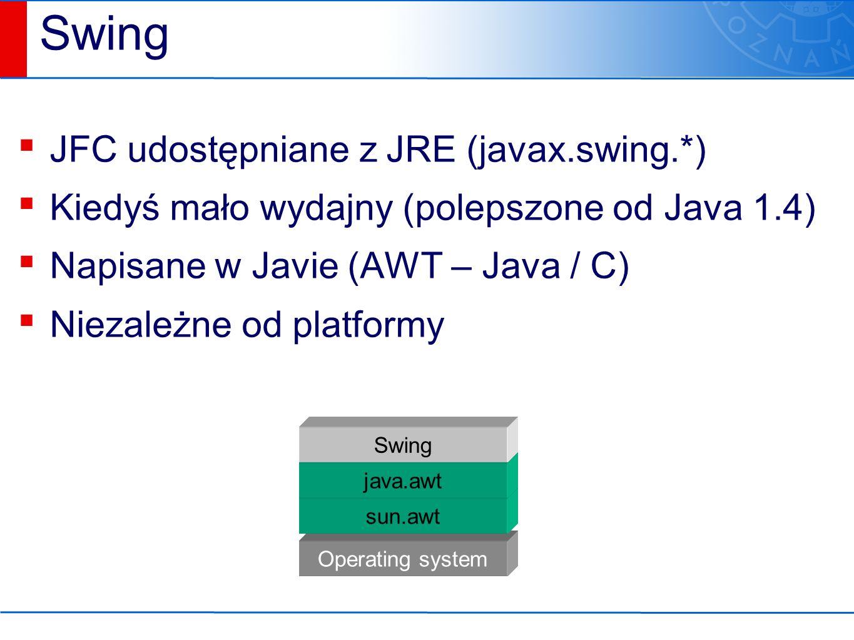 Operating system sun.awt Swing ▪ JFC udostępniane z JRE (javax.swing.*) ▪ Kiedyś mało wydajny (polepszone od Java 1.4) ▪ Napisane w Javie (AWT – Java / C) ▪ Niezależne od platformy java.awt Swing