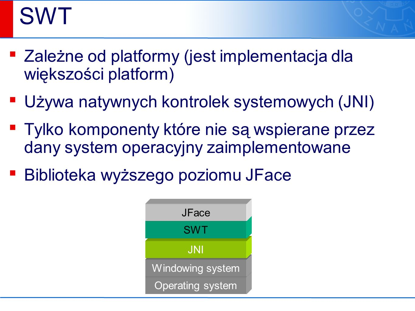 Operating system Windowing system JNI SWT vs.