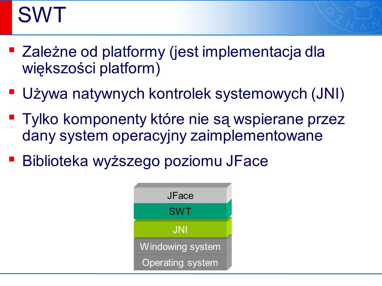 Różne rodzaje dialogów, udostępnianych przez klasę JOptionPane Okna dialogowe wejścia/wyjścia Tworzenie okien następuje poprzez wywołanie statycznych metod klasy JOptionPane.