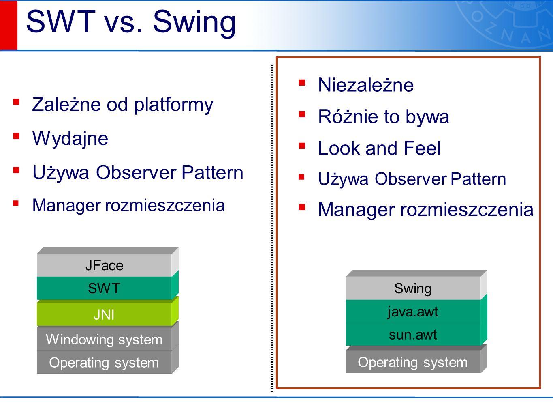 Look & Feel ▪ W JFC istnieje możliwość zmiany sposobu wyświetlania kontrolek ▪ Domyślny wygląd to Metal / Aqua ▪ Można wybrać wygląd systemu operacyjnego ▪ W JFC nie korzystano z kontrolek natywnych systemu (zmienione podejście ostatnio)