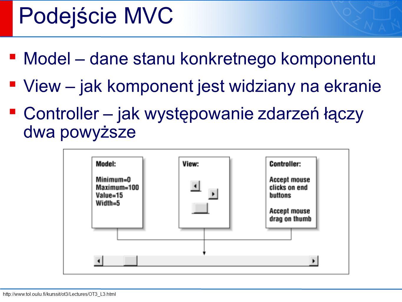 Podejście MVC ▪ Model – dane stanu konkretnego komponentu ▪ View – jak komponent jest widziany na ekranie ▪ Controller – jak występowanie zdarzeń łączy dwa powyższe http://www.tol.oulu.fi/kurssit/ot3/Lectures/OT3_L3.html