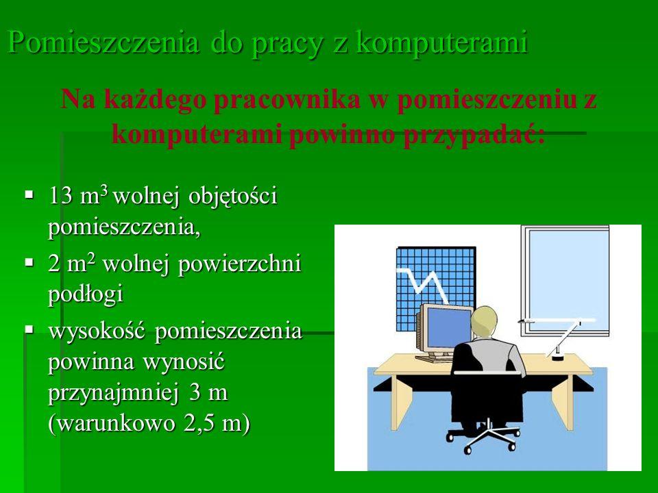 12 Pomieszczenia do pracy z komputerami Odległości między sąsiednimi monitorami powinny wynosić co najmniej 60 cm, a między pracownikiem i tyłem sąsiedniego monitora - co najmniej 80 cm.