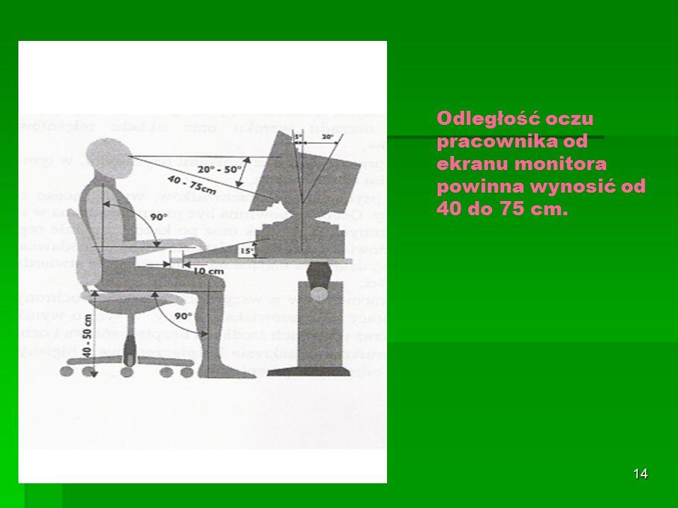 13 Pomieszczenia do pracy z komputerami Na każdego pracownika w pomieszczeniu z komputerami powinno przypadać:  13 m 3 wolnej objętości pomieszczenia,  2 m 2 wolnej powierzchni podłogi  wysokość pomieszczenia powinna wynosić przynajmniej 3 m (warunkowo 2,5 m)
