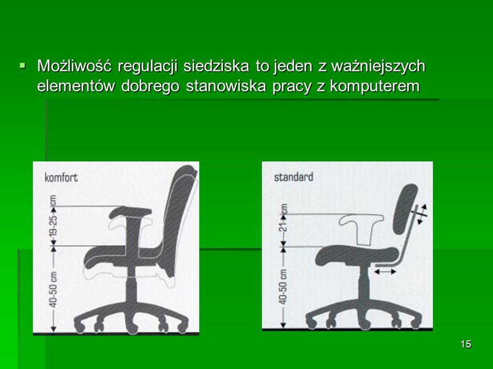 14 Odległość oczu pracownika od ekranu monitora powinna wynosić od 40 do 75 cm.
