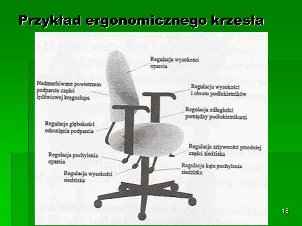 17 Zbyt duża głębokość płyty siedziska powoduje nacisk na dół podkolanowy, co może upośledzać krążenie krwi w nogach oraz powodować ucisk na nerwy