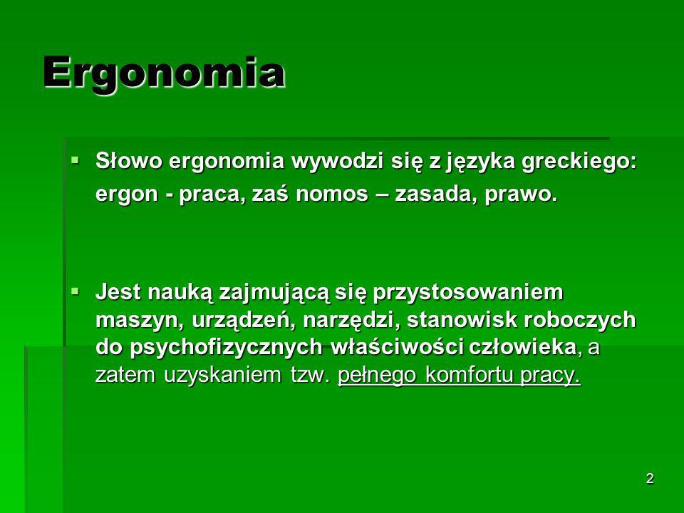 2 Ergonomia  Słowo ergonomia wywodzi się z języka greckiego: ergon - praca, zaś nomos – zasada, prawo.