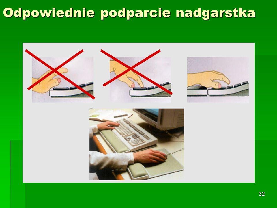 31 Klawiatura (ułożenie dłoni podczas pracy na klawiaturze komputera)  Klawiatura- ma bezpośredni wpływ na wydajność i komfort pracy.