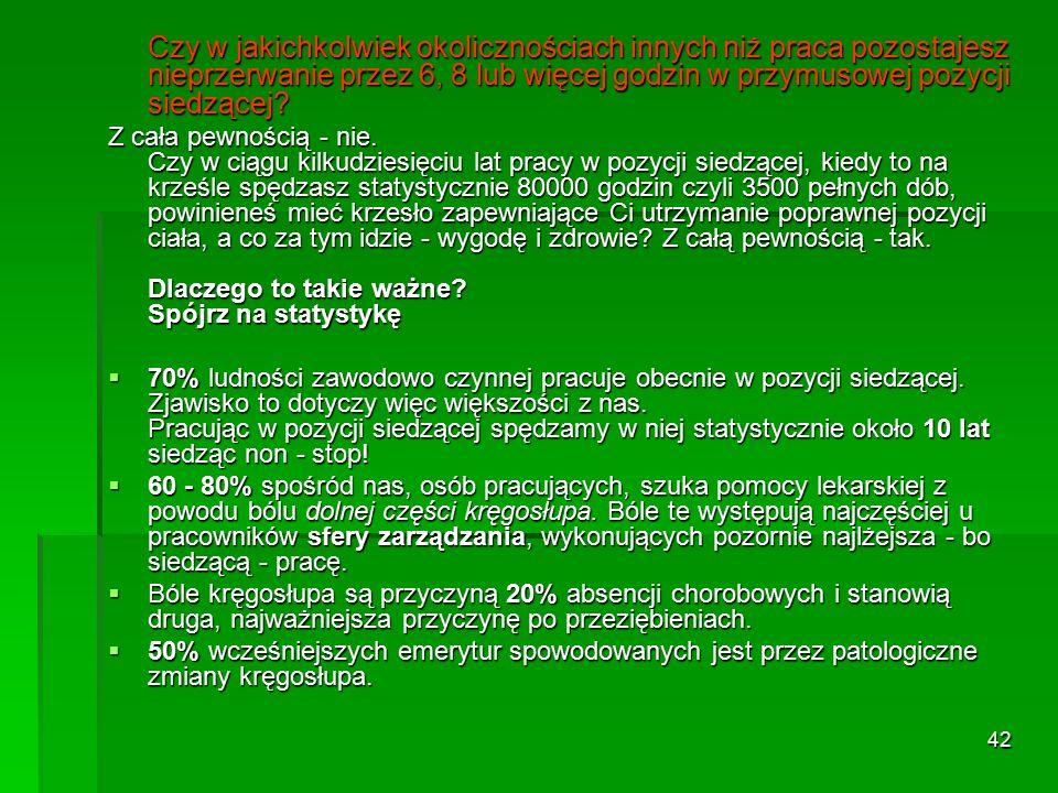 """41 Odsetek osób zgłaszających dolegliwości bólowe w różnych regionach ciała podczas wykonywania różnych zajęć biurowych (""""A – tylko wprowadzanie danych, """"B – tzw."""