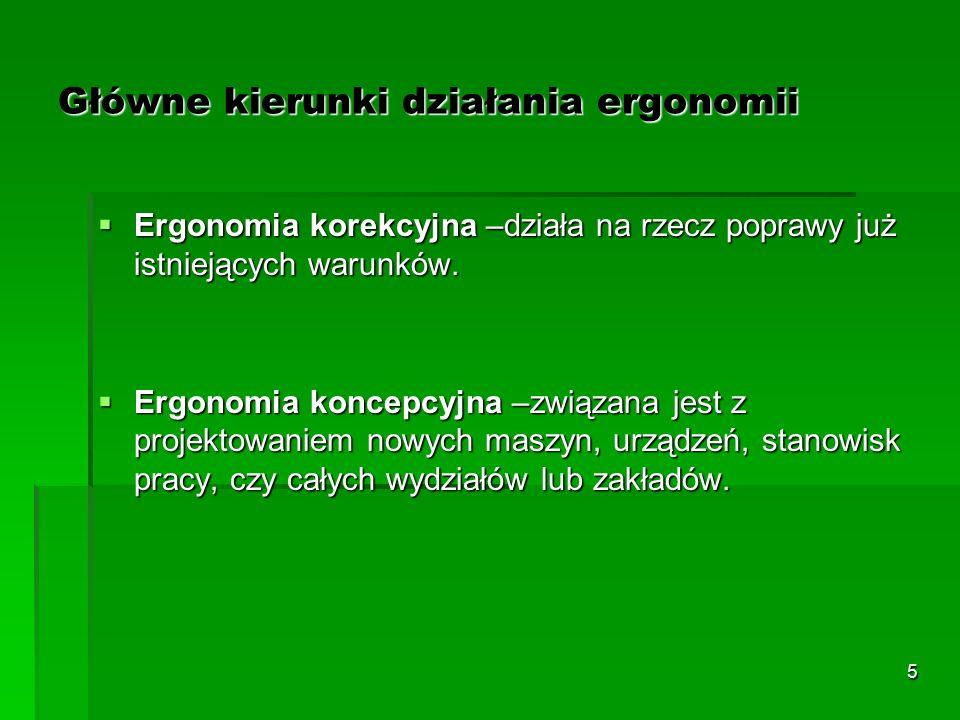 5 Główne kierunki działania ergonomii  Ergonomia korekcyjna –działa na rzecz poprawy już istniejących warunków.