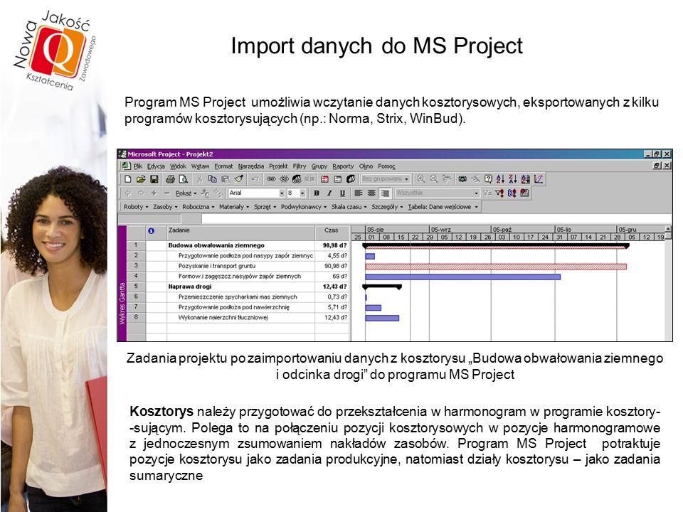 """Import danych do MS Project Zadania projektu po zaimportowaniu danych z kosztorysu """"Budowa obwałowania ziemnego i odcinka drogi do programu MS Project Program MS Project umożliwia wczytanie danych kosztorysowych, eksportowanych z kilku programów kosztorysujących (np.: Norma, Strix, WinBud)."""