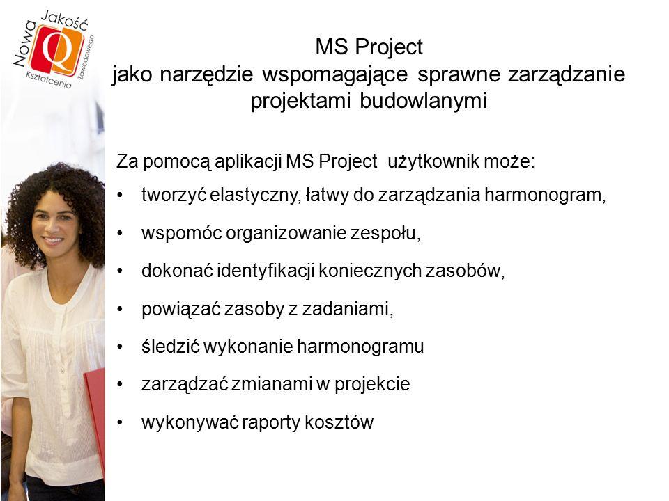 MS Project jako narzędzie wspomagające sprawne zarządzanie projektami budowlanymi Za pomocą aplikacji MS Project użytkownik może: tworzyć elastyczny, łatwy do zarządzania harmonogram, wspomóc organizowanie zespołu, dokonać identyfikacji koniecznych zasobów, powiązać zasoby z zadaniami, śledzić wykonanie harmonogramu zarządzać zmianami w projekcie wykonywać raporty kosztów