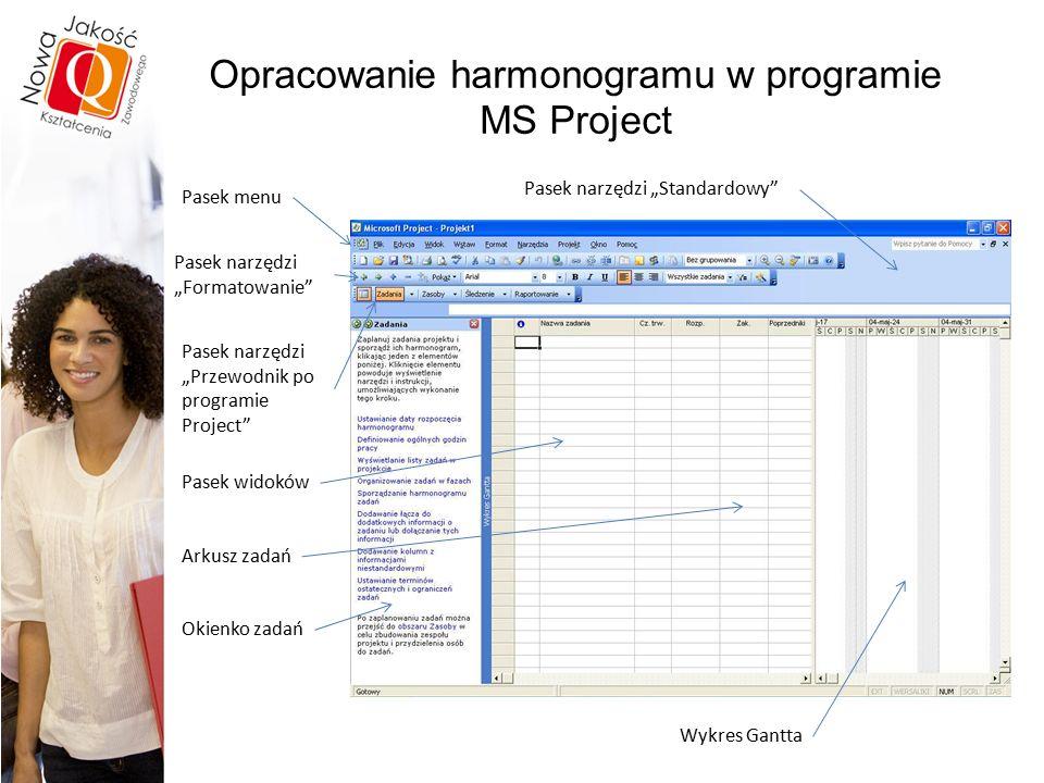 """Opracowanie harmonogramu w programie MS Project Arkusz zadań Wykres Gantta Pasek narzędzi """"Standardowy Pasek menu Pasek narzędzi """"Formatowanie Pasek narzędzi """"Przewodnik po programie Project Pasek widoków Okienko zadań"""