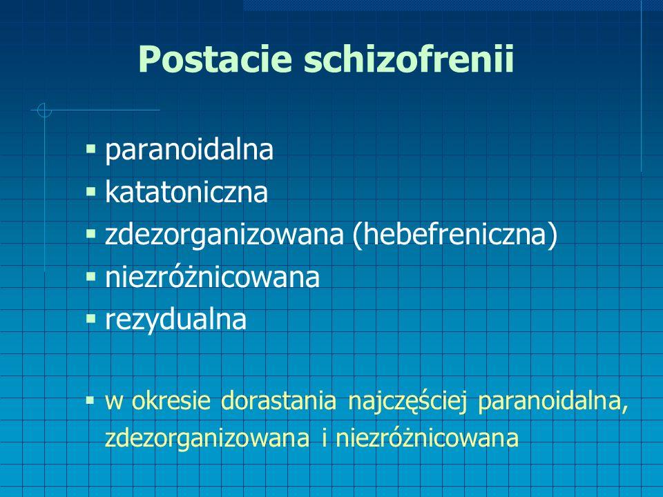 Postacie schizofrenii  paranoidalna  katatoniczna  zdezorganizowana (hebefreniczna)  niezróżnicowana  rezydualna  w okresie dorastania najczęściej paranoidalna, zdezorganizowana i niezróżnicowana