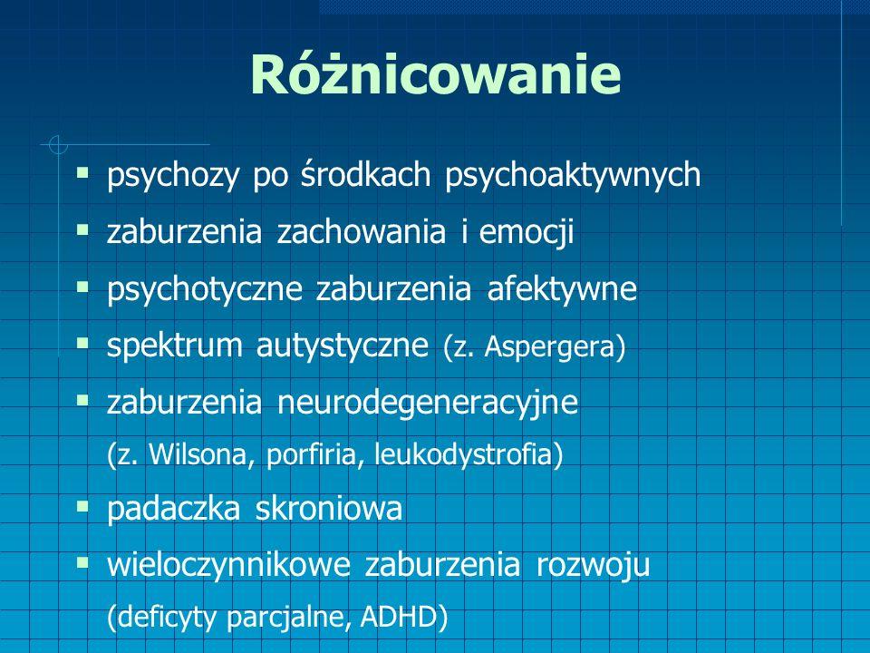 Różnicowanie  psychozy po środkach psychoaktywnych  zaburzenia zachowania i emocji  psychotyczne zaburzenia afektywne  spektrum autystyczne (z.