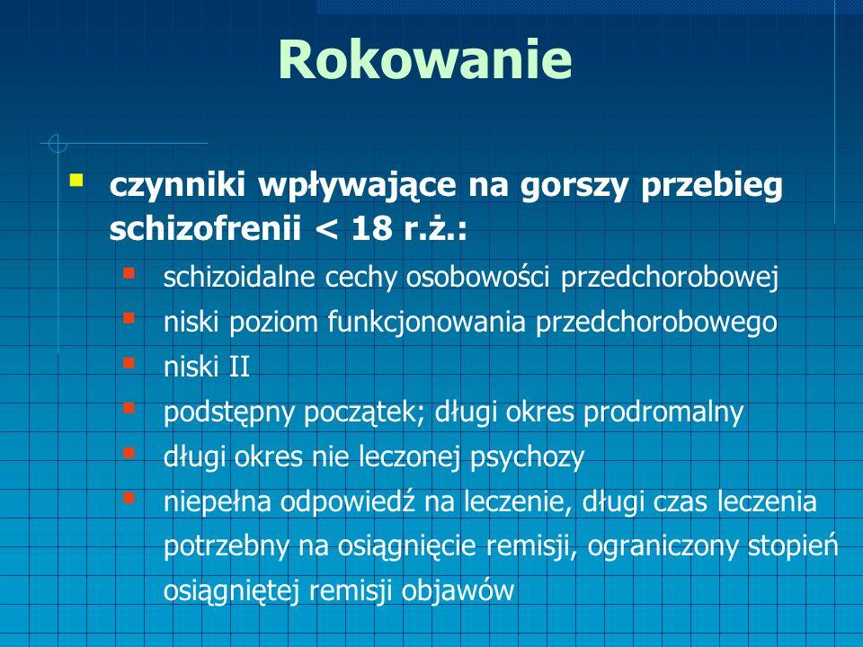 Rokowanie  czynniki wpływające na gorszy przebieg schizofrenii < 18 r.ż.:  schizoidalne cechy osobowości przedchorobowej  niski poziom funkcjonowania przedchorobowego  niski II  podstępny początek; długi okres prodromalny  długi okres nie leczonej psychozy  niepełna odpowiedź na leczenie, długi czas leczenia potrzebny na osiągnięcie remisji, ograniczony stopień osiągniętej remisji objawów