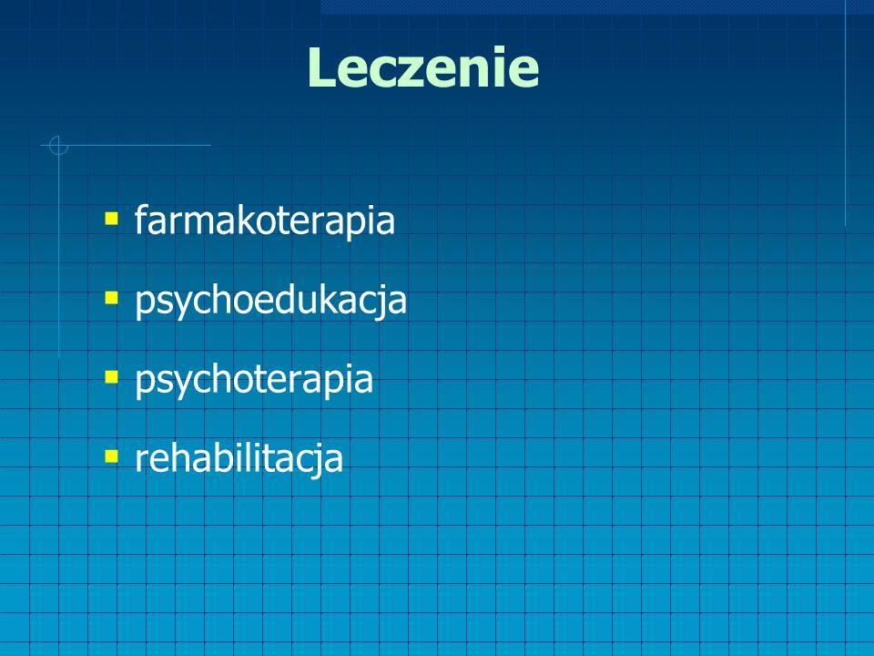 Leczenie  farmakoterapia  psychoedukacja  psychoterapia  rehabilitacja