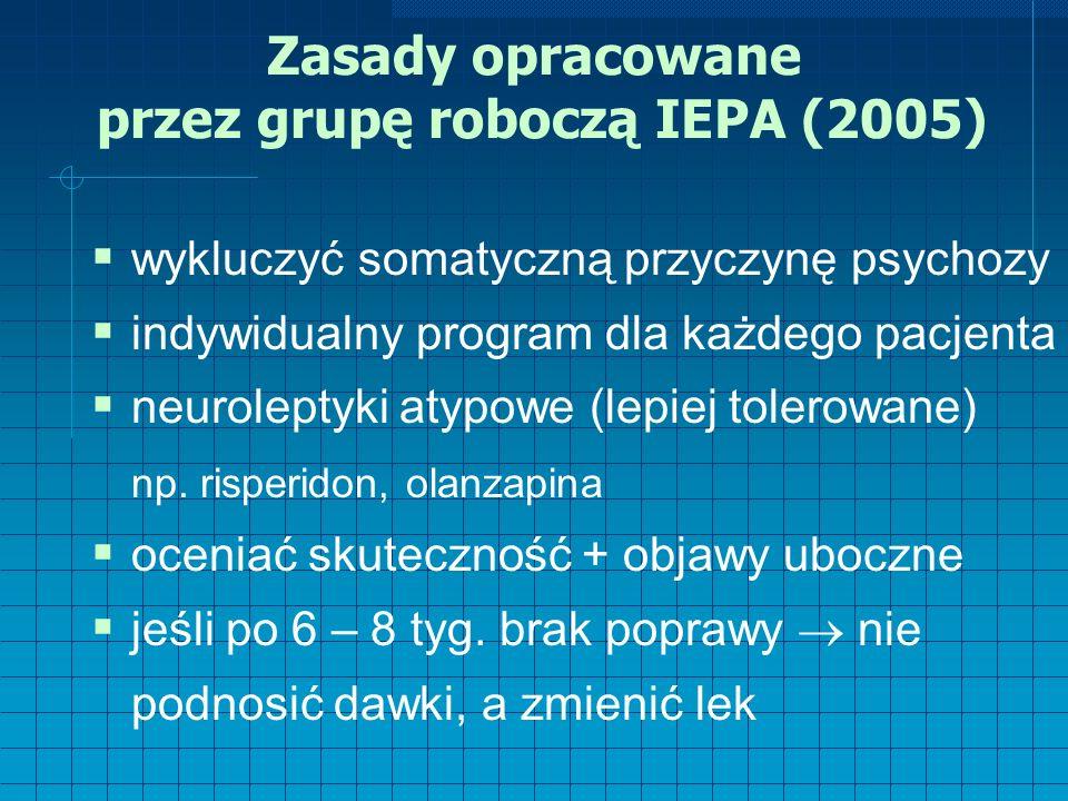 Zasady opracowane przez grupę roboczą IEPA (2005)  wykluczyć somatyczną przyczynę psychozy  indywidualny program dla każdego pacjenta  neuroleptyki atypowe (lepiej tolerowane) np.