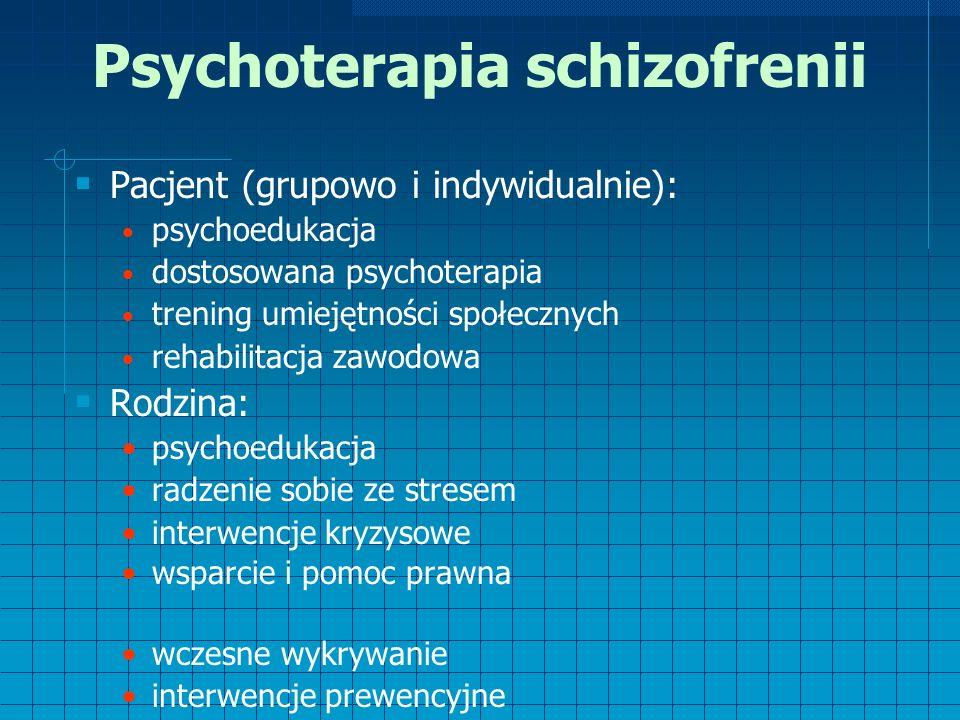 Psychoterapia schizofrenii  Pacjent (grupowo i indywidualnie): psychoedukacja dostosowana psychoterapia trening umiejętności społecznych rehabilitacja zawodowa  Rodzina: psychoedukacja radzenie sobie ze stresem interwencje kryzysowe wsparcie i pomoc prawna wczesne wykrywanie interwencje prewencyjne