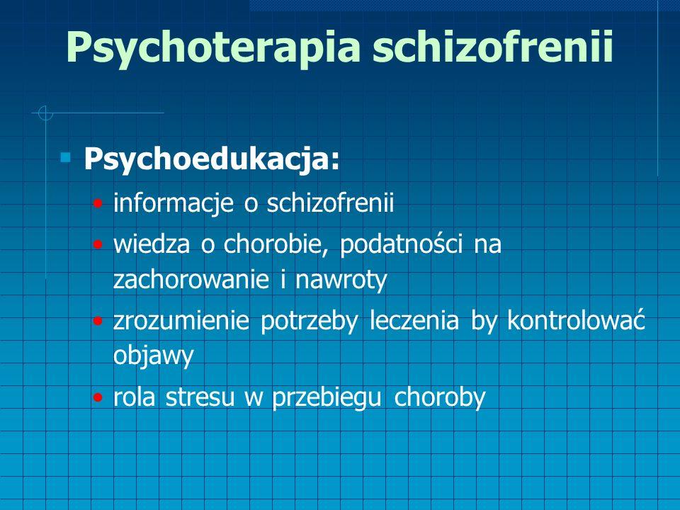 Psychoterapia schizofrenii  Psychoedukacja: informacje o schizofrenii wiedza o chorobie, podatności na zachorowanie i nawroty zrozumienie potrzeby leczenia by kontrolować objawy rola stresu w przebiegu choroby
