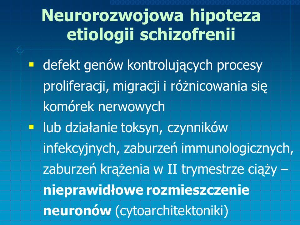 Neurorozwojowa hipoteza etiologii schizofrenii  defekt genów kontrolujących procesy proliferacji, migracji i różnicowania się komórek nerwowych  lub działanie toksyn, czynników infekcyjnych, zaburzeń immunologicznych, zaburzeń krążenia w II trymestrze ciąży – nieprawidłowe rozmieszczenie neuronów (cytoarchitektoniki)