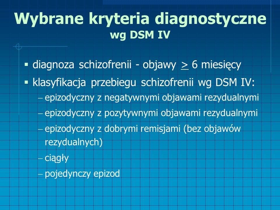 Wybrane kryteria diagnostyczne wg DSM IV  diagnoza schizofrenii - objawy > 6 miesięcy  klasyfikacja przebiegu schizofrenii wg DSM IV:  epizodyczny z negatywnymi objawami rezydualnymi  epizodyczny z pozytywnymi objawami rezydualnymi  epizodyczny z dobrymi remisjami (bez objawów rezydualnych)  ciągły  pojedynczy epizod