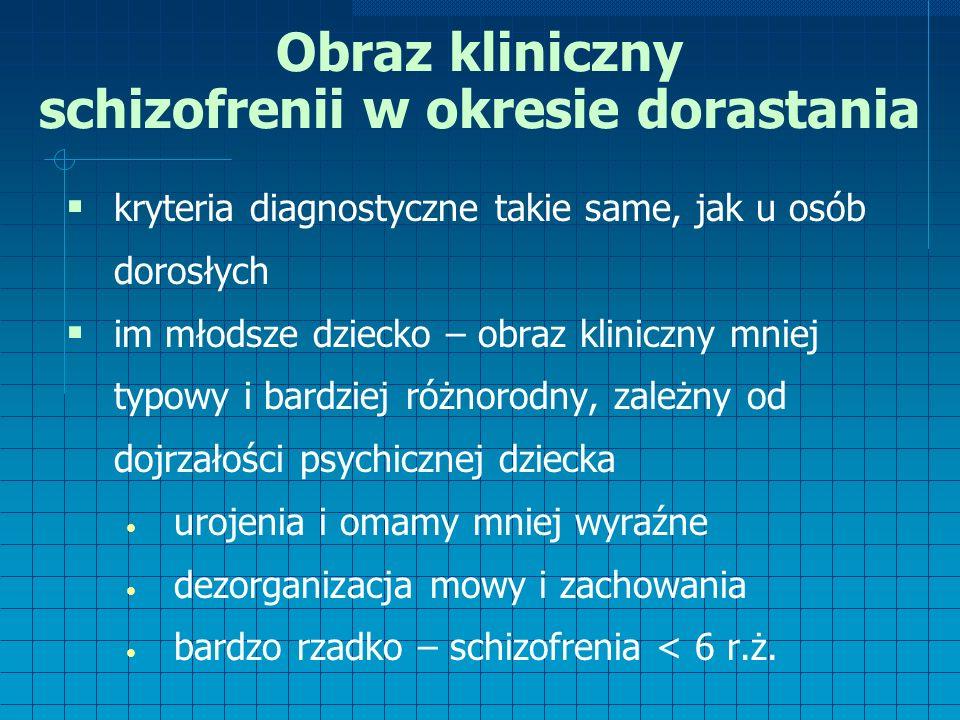 Obraz kliniczny schizofrenii w okresie dorastania  kryteria diagnostyczne takie same, jak u osób dorosłych  im młodsze dziecko – obraz kliniczny mniej typowy i bardziej różnorodny, zależny od dojrzałości psychicznej dziecka urojenia i omamy mniej wyraźne dezorganizacja mowy i zachowania bardzo rzadko – schizofrenia < 6 r.ż.