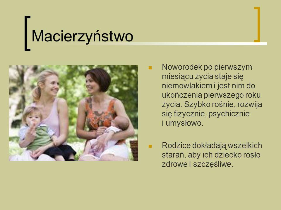 Macierzyństwo Noworodek po pierwszym miesiącu życia staje się niemowlakiem i jest nim do ukończenia pierwszego roku życia.