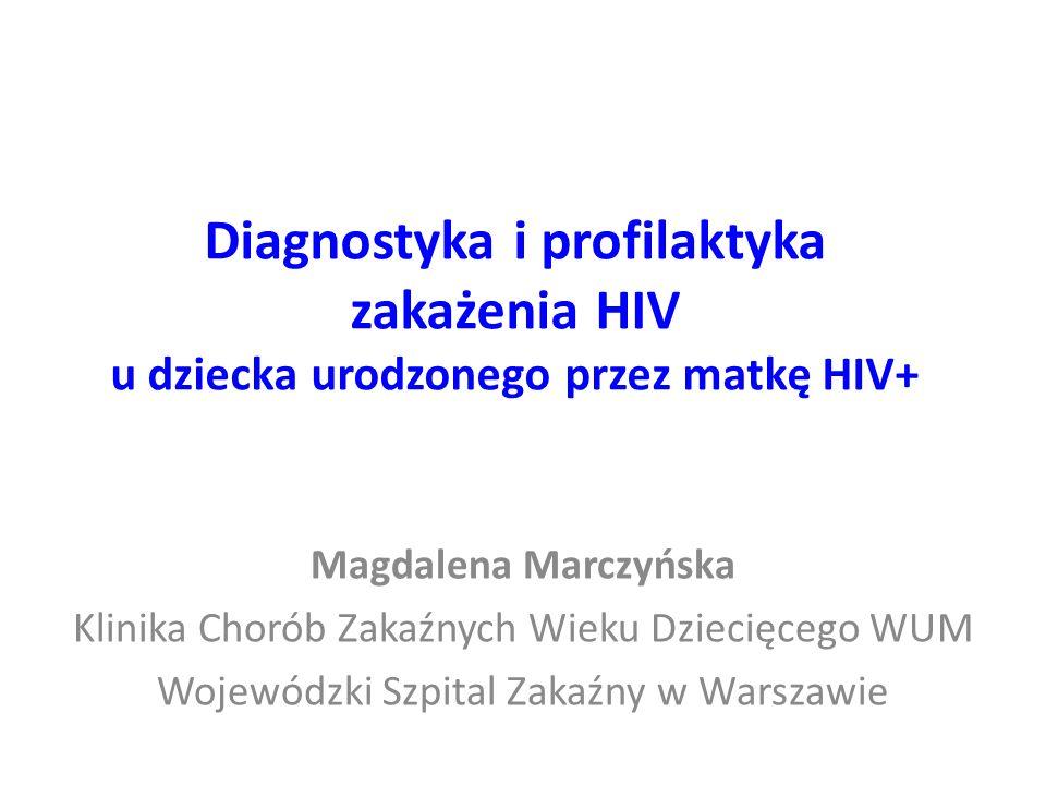 Diagnostyka i profilaktyka zakażenia HIV u dziecka urodzonego przez matkę HIV+ Magdalena Marczyńska Klinika Chorób Zakaźnych Wieku Dziecięcego WUM Wojewódzki Szpital Zakaźny w Warszawie