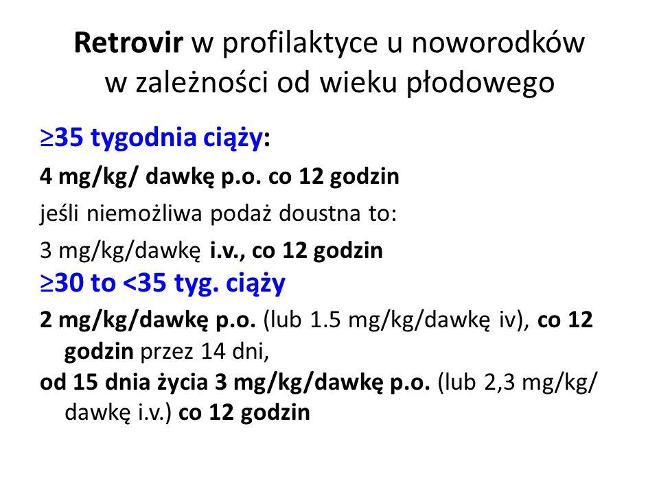 Retrovir w profilaktyce u noworodków w zależności od wieku płodowego ≥35 tygodnia ciąży: 4 mg/kg/ dawkę p.o. co 12 godzin jeśli niemożliwa podaż doust