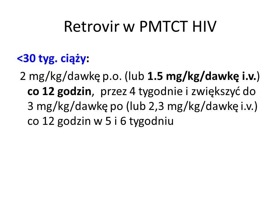 Retrovir w PMTCT HIV <30 tyg. ciąży: 2 mg/kg/dawkę p.o. (lub 1.5 mg/kg/dawkę i.v.) co 12 godzin, przez 4 tygodnie i zwiększyć do 3 mg/kg/dawkę po (lub