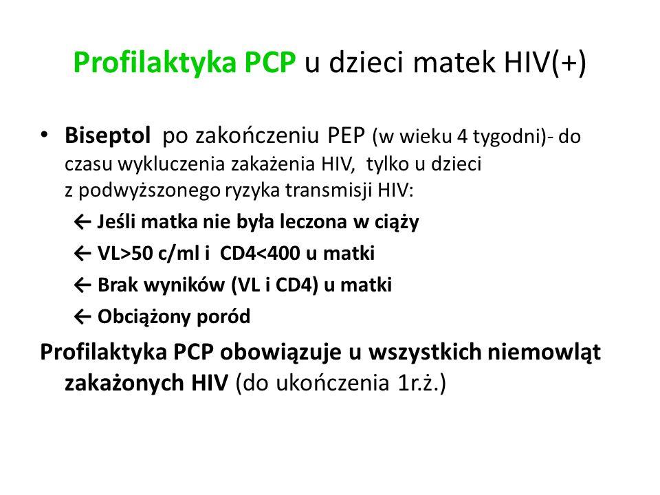 Profilaktyka PCP u dzieci matek HIV(+) Biseptol po zakończeniu PEP (w wieku 4 tygodni)- do czasu wykluczenia zakażenia HIV, tylko u dzieci z podwyższonego ryzyka transmisji HIV: ← Jeśli matka nie była leczona w ciąży ← VL>50 c/ml i CD4<400 u matki ← Brak wyników (VL i CD4) u matki ← Obciążony poród Profilaktyka PCP obowiązuje u wszystkich niemowląt zakażonych HIV (do ukończenia 1r.ż.)