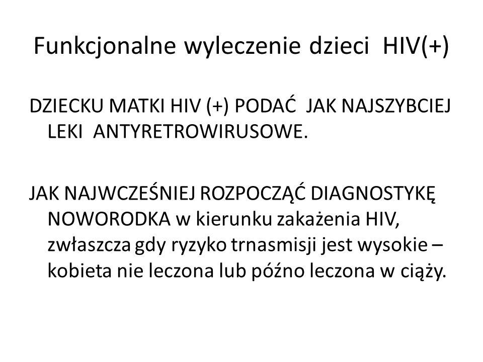 Funkcjonalne wyleczenie dzieci HIV(+) DZIECKU MATKI HIV (+) PODAĆ JAK NAJSZYBCIEJ LEKI ANTYRETROWIRUSOWE. JAK NAJWCZEŚNIEJ ROZPOCZĄĆ DIAGNOSTYKĘ NOWOR