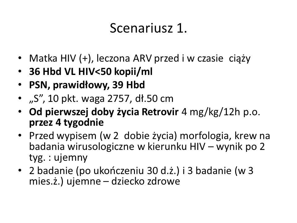 """Scenariusz 1. Matka HIV (+), leczona ARV przed i w czasie ciąży 36 Hbd VL HIV<50 kopii/ml PSN, prawidłowy, 39 Hbd """"S"""", 10 pkt. waga 2757, dł.50 cm Od"""