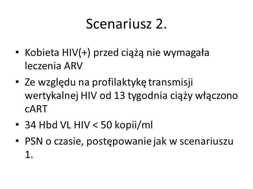 Scenariusz 2. Kobieta HIV(+) przed ciążą nie wymagała leczenia ARV Ze względu na profilaktykę transmisji wertykalnej HIV od 13 tygodnia ciąży włączono
