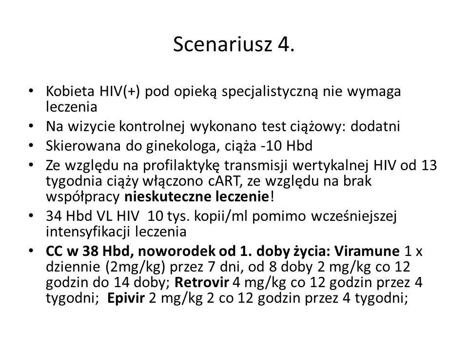Scenariusz 4. Kobieta HIV(+) pod opieką specjalistyczną nie wymaga leczenia Na wizycie kontrolnej wykonano test ciążowy: dodatni Skierowana do ginekol