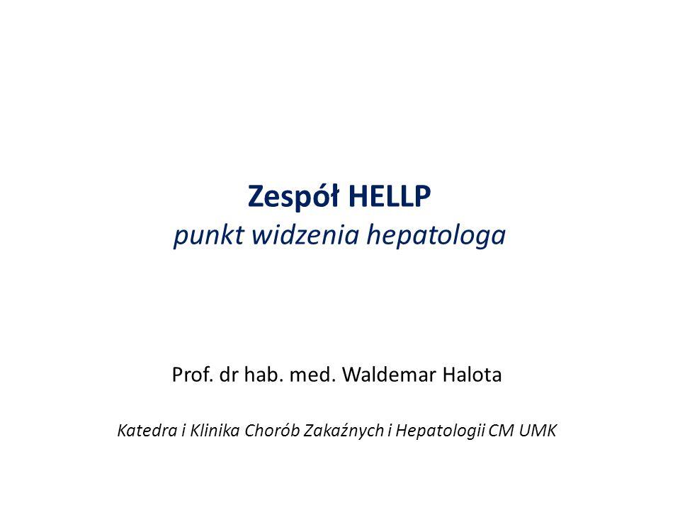 Uszkodzenie wątroby w HELLP białko Fas/Fas-L (CD95); kaspazy - degradacja białek enzymatycznych i efektorowych – śmierć komórki sHLA-DR – zwiększa odpowiedź immunologiczną ciężarnej wobec płodu - zapoczątkowanie apoptozy; predyktor HELLP FasL indukuje produkcję TNFα powodujący apoptozę hepatocytów surowica pacjentek z zespołem HELLP wykazuje działanie cytotoksyczne w stosunku do ludzkich hepatocytów (in vitro) zablokowanie FasL przez przeciwciała neutralizujące zmniejsza uszkodzenie wątroby w HELLP Białka CD95 i TRAIL w warunkach fizjologicznych powodują apoptozę matczynych limfocytów gwarantując tolerancję immunologiczną wobec płodu Abildgaard U.; Eur J Obs&Gyn and Rep Biol.; 2013; 166,117-123 Strand S.