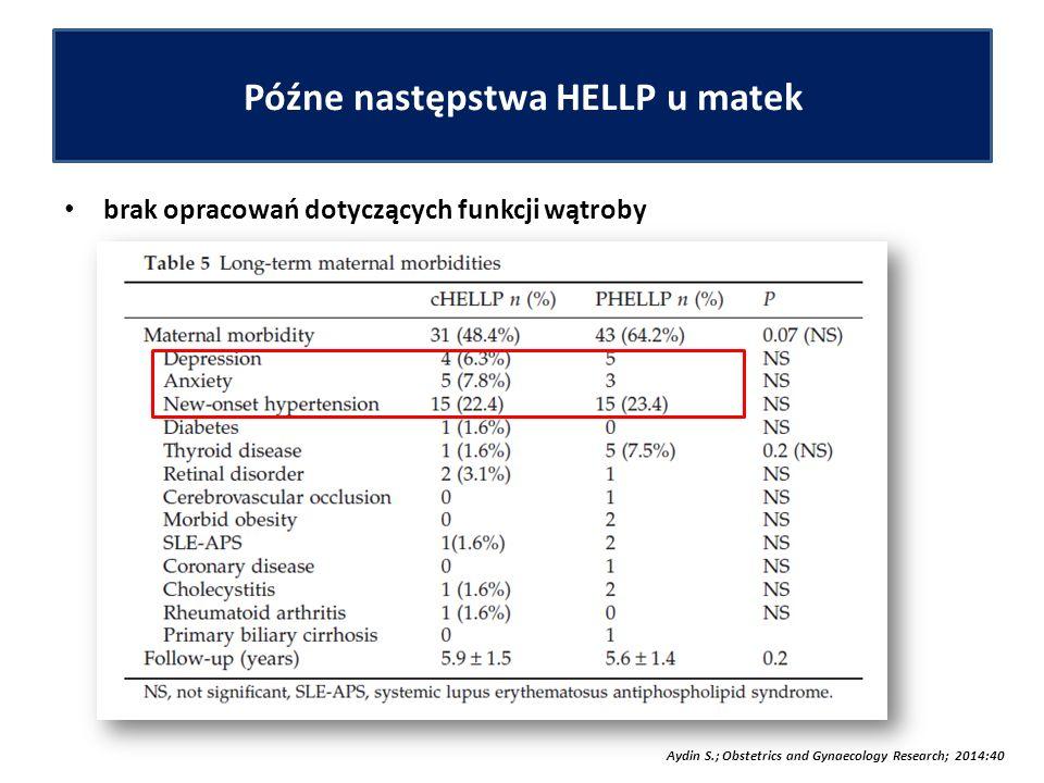 Późne następstwa HELLP u matek brak opracowań dotyczących funkcji wątroby Aydin S.; Obstetrics and Gynaecology Research; 2014:40