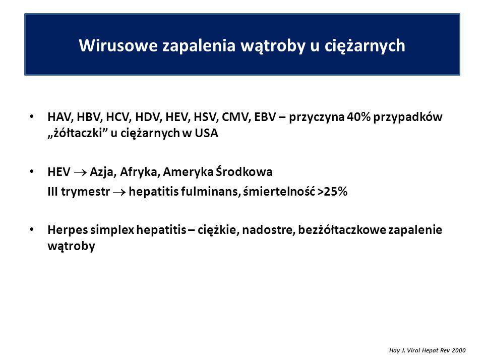 """Wirusowe zapalenia wątroby u ciężarnych HAV, HBV, HCV, HDV, HEV, HSV, CMV, EBV – przyczyna 40% przypadków """"żółtaczki u ciężarnych w USA HEV  Azja, Afryka, Ameryka Środkowa III trymestr  hepatitis fulminans, śmiertelność >25% Herpes simplex hepatitis – ciężkie, nadostre, bezżółtaczkowe zapalenie wątroby Hay J."""