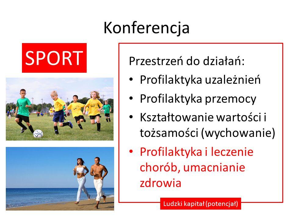Konferencja Przestrzeń do działań: Profilaktyka uzależnień Profilaktyka przemocy Kształtowanie wartości i tożsamości (wychowanie) Profilaktyka i leczenie chorób, umacnianie zdrowia Ludzki kapitał (potencjał) SPORT